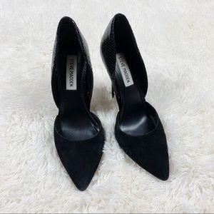 Steve Madden Black Vessa Leather D'Orsay Heels